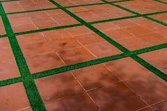 Golv för keramiska tegelplattor Arkivfoto