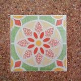 Golv för tegelplatta för blommamodell Arkivbild