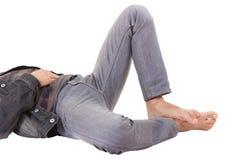 golv isolerad liggande manwhite för ben Royaltyfri Fotografi