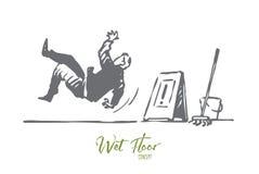 Golv som är vått, varning, tecken, halt begrepp Hand dragen isolerad vektor vektor illustrationer