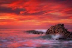 Golven in Azkorri-strand met lange blootstelling Royalty-vrije Stock Afbeelding