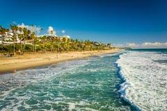 Golven in de Vreedzame Oceaan en de mening van het strand stock fotografie