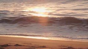Golven die op een strand breken stock footage