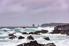 Golven die op oever van Bonavista Newfoundland verpletteren Stock Foto
