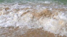 Golven die over een zandig strand verpletteren stock video