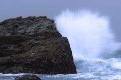 Golven die tegen rotsen op een stormachtige dag in Umhlanga Zuid-Afrika verpletteren Stock Afbeelding