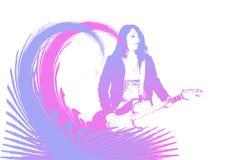 Golven en gitaar stock illustratie