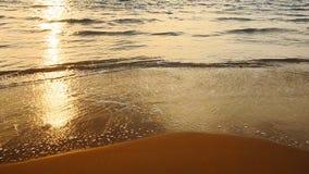 Golven en gouden zandstrand stock videobeelden