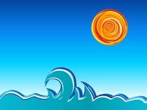 Golven en zon Stock Afbeelding