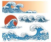 Golven in Japanse stijl royalty-vrije illustratie