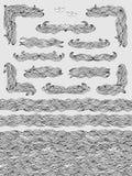 Golven naadloos patroon, banners en tekstverdelers Stock Foto