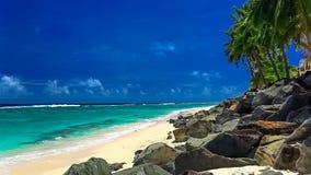 Golven op een verlaten tropisch strand, Cook Islands stock video