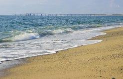 Golven op het Strand, Calabrië, Italië Stock Foto