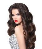 Golvend haar Het mooie model van de bruid donkerbruine jonge vrouw met healt Stock Afbeeldingen