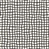 Golvend Hand Getrokken Lijnen Vierkant Net Vector naadloos zwart-wit patroon stock illustratie