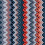Golvend lijnen en punten naadloos patroon, verticale vectorachtergrond Royalty-vrije Stock Fotografie
