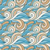 Golvend vector naadloos patroon Water en zand de textuur van de strandfantasie Stock Afbeeldingen