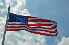 Golvende Amerikaanse Vlag Royalty-vrije Stock Foto's