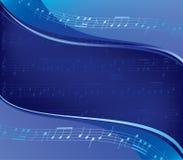 Golvende blauwe vectorachtergrond - muzikaal ontwerp stock illustratie