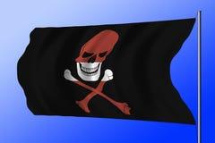 Golvende die piraatvlag met Letse vlag wordt gecombineerd Royalty-vrije Stock Afbeeldingen