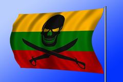 Golvende die piraatvlag met Litouwse vlag wordt gecombineerd Royalty-vrije Stock Foto's