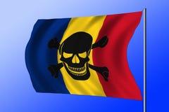 Golvende die piraatvlag met Roemeense vlag wordt gecombineerd Royalty-vrije Stock Fotografie