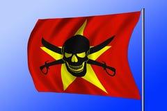 Golvende die piraatvlag met Vietnamese vlag wordt gecombineerd Stock Afbeelding