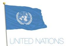Golvende die vlag van de Verenigde Naties op witte achtergrond worden geïsoleerd Royalty-vrije Stock Afbeeldingen