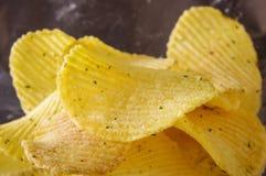 Golvende het patroon macro dichte omhooggaand van de chips abstracte textuur Stock Afbeeldingen