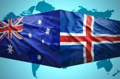 Golvende Ijslandse en Australische vlaggen Stock Fotografie