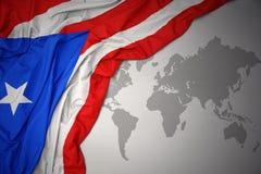 Golvende kleurrijke nationale vlag van Puerto Rico royalty-vrije stock fotografie