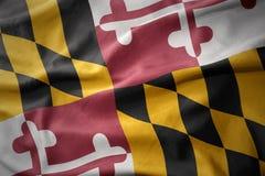Golvende kleurrijke vlag van de staat van Maryland stock fotografie