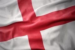 Golvende kleurrijke vlag van Engeland Royalty-vrije Stock Fotografie