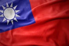 Golvende kleurrijke vlag van Taiwan Royalty-vrije Stock Afbeelding