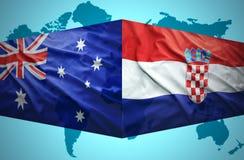 Golvende Kroatische en Australische vlaggen Royalty-vrije Stock Foto's