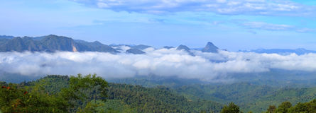 Golvende mist die door de blauwe randbergen vloeien stock afbeelding