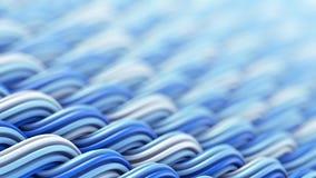Golvende oppervlakte van witte en blauwe abstracte 3D rende van het curlesornament Stock Fotografie