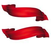 Golvende rode banners, vectorreeks Stock Foto's
