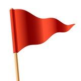 Golvende rode driehoekige vlag Stock Afbeelding