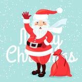 Golvende Santa Claus met zakhoogtepunt van presetns Vlakke stijl Stock Afbeelding