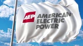 Golvende vlag met Amerikaans Electric Power-embleem Editoial het 3D teruggeven Stock Afbeelding