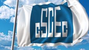 Golvende vlag met de Bouwembleem van de Staat van China tegen hemel en wolken Het redactie 3D teruggeven Royalty-vrije Stock Afbeelding