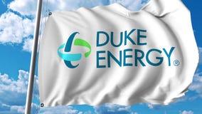 Golvende vlag met Duke Energy-embleem Editoial het 3D teruggeven Royalty-vrije Stock Fotografie