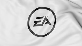 Golvende vlag met het embleem van Electronic Arts EA Het redactie 3D teruggeven Stock Afbeeldingen
