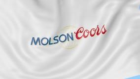 Golvende vlag met het embleem van Molson Coors Brewing Company De redactieanimatie van de Seamleslijn 4K vector illustratie