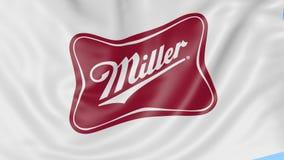 Golvende vlag met Miller Brewing Company-embleem De redactieanimatie van de Seamleslijn 4K vector illustratie