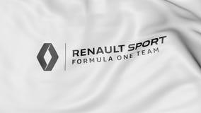 Golvende vlag met Renault Sport Formula One Team-embleem Het redactie 3D teruggeven Royalty-vrije Stock Foto
