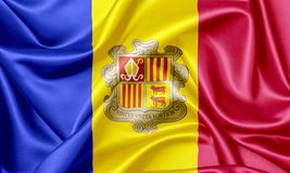 Golvende vlag van Andorra royalty-vrije illustratie