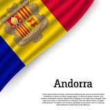 Golvende vlag van Andorra stock illustratie