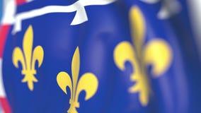 Golvende vlag van Centre-Val DE de Loire, een gebied van Frankrijk Close-up, loopable 3D animatie stock video